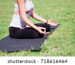 meditation of yogis in the city ... | Shutterstock . vector #718616464