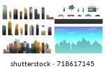 constructor for night city... | Shutterstock .eps vector #718617145