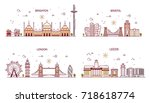business city in england.... | Shutterstock .eps vector #718618774