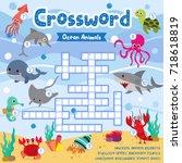 crosswords puzzle game of ocean ... | Shutterstock .eps vector #718618819