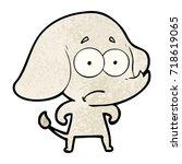 cartoon unsure elephant   Shutterstock .eps vector #718619065