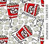 popcorn vector illustration.... | Shutterstock .eps vector #718619335