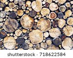 Stack of sawn logs. Natural wooden decor background. - stock photo