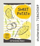 sweet potato brochure concept... | Shutterstock .eps vector #718624369