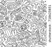 cartoon hand drawn hippie... | Shutterstock .eps vector #718625851