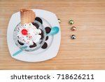 cookie sundae ice cream in cafe | Shutterstock . vector #718626211
