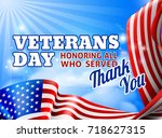 a veterans day background with... | Shutterstock . vector #718627315