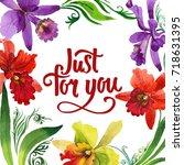 wildflower orchid flower frame... | Shutterstock . vector #718631395