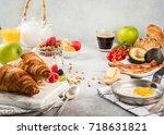 variety of breakfasts  ...   Shutterstock . vector #718631821