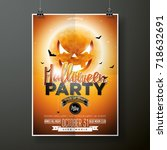 halloween party vector... | Shutterstock .eps vector #718632691