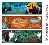 halloween party banner for... | Shutterstock .eps vector #718634431