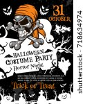 halloween horror party poster... | Shutterstock .eps vector #718634974