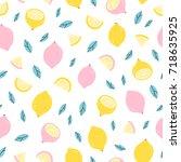 lemons doodle seamless pattern | Shutterstock .eps vector #718635925