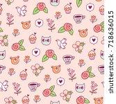 doodle bear  cat and a bird...   Shutterstock .eps vector #718636015