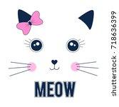 sweet cat face illustration...   Shutterstock .eps vector #718636399