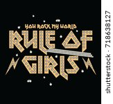 rule of girl  rock print with...   Shutterstock .eps vector #718638127