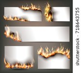 hot fire strategic... | Shutterstock .eps vector #718643755