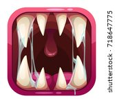 predator mouth app icon. vector ... | Shutterstock .eps vector #718647775
