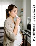 pregnant woman suffering asthma ... | Shutterstock . vector #718651315