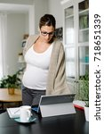 confident pregnant woman... | Shutterstock . vector #718651339