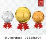 set of gold  silver and bronze... | Shutterstock .eps vector #718656904