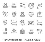 premium set of route line icons.... | Shutterstock .eps vector #718657339