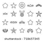 premium set of star line icons. ...