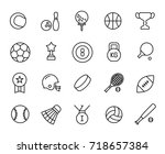 premium set of sport equipment... | Shutterstock .eps vector #718657384
