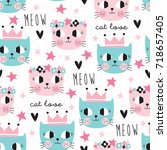 Seamless Colorful Cat Pattern...