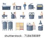 dairy production set of cartoon ... | Shutterstock .eps vector #718658089