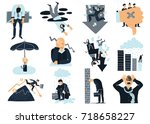 business failure flat icons... | Shutterstock .eps vector #718658227