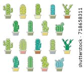 cactus icons illustration... | Shutterstock .eps vector #718658311