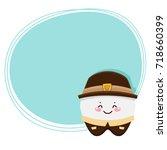 cute tooth  pilgrim  costume...   Shutterstock .eps vector #718660399