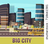 big city orthogonal background... | Shutterstock .eps vector #718661581