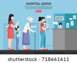 hospital queue with people room ... | Shutterstock .eps vector #718661611