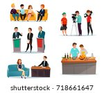 cartoon set with participants... | Shutterstock .eps vector #718661647