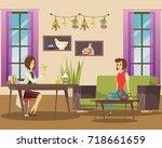 natural cosmetology flat... | Shutterstock .eps vector #718661659