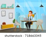 colored and flat man in office... | Shutterstock .eps vector #718663345