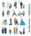 modern aged people flat set of... | Shutterstock .eps vector #718663411