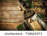 winter or christmas weekend in...   Shutterstock . vector #718663471