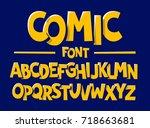 comics style font vector... | Shutterstock .eps vector #718663681