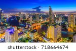 aerial view of bangkok city... | Shutterstock . vector #718664674