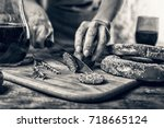 black and white photo.... | Shutterstock . vector #718665124