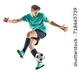 one caucasian soccer player man ... | Shutterstock . vector #718665739