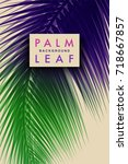 tropical palm background.... | Shutterstock .eps vector #718667857