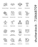 black business icons   outline... | Shutterstock .eps vector #718668709