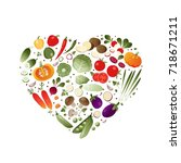 vegetables in shape of heart.... | Shutterstock .eps vector #718671211