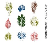 color set with hand made ink... | Shutterstock . vector #718672519
