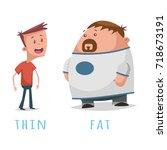 opposite words adjective fat... | Shutterstock .eps vector #718673191