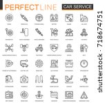 car repair service thin line... | Shutterstock .eps vector #718674751